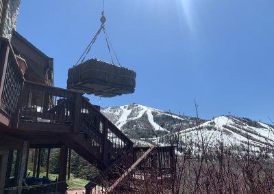 hot tub spa installation on deck near steamboat resort with view of ski mountain