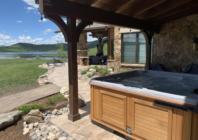hot tub under covered deck in steamboat springs