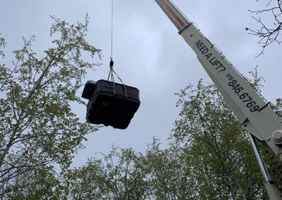 crane with hot tub spa for installation